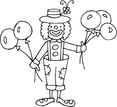 silly clown coloring page free clip art