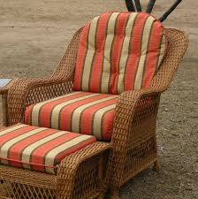 ottoman with patterned fabric cream and orange striped patterned fabric cushion set for outdoor