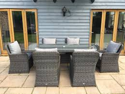 venice 2 35 metre rectangular grey rattan dining table and 6 club