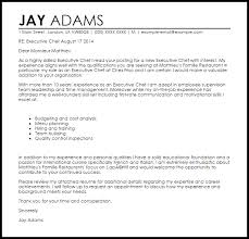 Chef Cover Letter executive chef cover letter sle livecareer