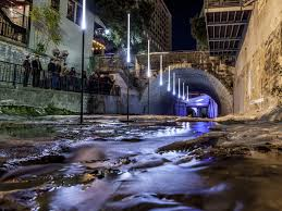 waller creek light show austinites gather to witness waller creek s magical transformation