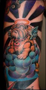coloured bulldog angel in heaven tattoo tattoos book