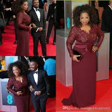 hot momma gowns 2017 oprah winfrey burgundy sleeves of the