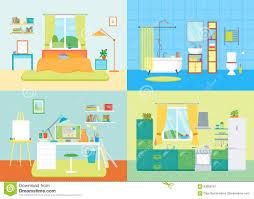 cartoon interior basic room of home vector stock vector image