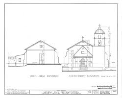 architectural drawing front and rear elevation church mission