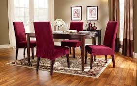 Soft Suede Short Slipcover Dining Chairs Burgundy Color Short - Short dining room chair covers