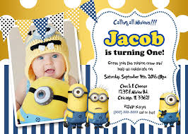 Sample 1st Birthday Invitation Card Personalized Minion Birthday Invitations Themesflip Com