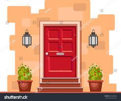 red front door red front door on yellow brick stock vector 415099636 shutterstock