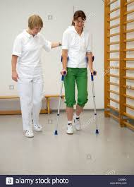 Walking Up Stairs With Crutches by Patient Walking Crutches Caucasian Stock Photos U0026 Patient Walking