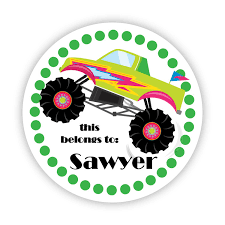 tag stickers green polka dots cute lime monster truck