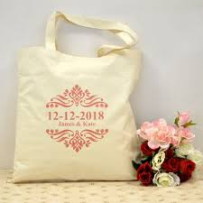 wedding bags hot pink swirls wedding favors tote cotton canvas bag for