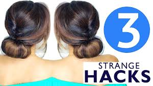 3 weird hair hacks girls cute hairstyles youtube