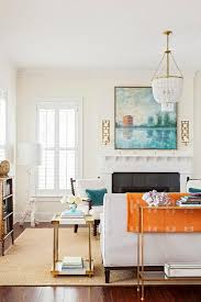 Accent Living Room Tables White And Blue Living Room With Orange Accents Transitional