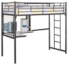 Black Bunk Bed With Desk Metal Bunk Bed With Desk Modern Loft Silver Black Metal Bunk