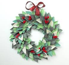 christmas holiday wreath paper leaf wreath modern paper wreath