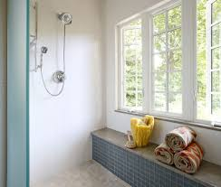 window sill bathroom contemporary with beige shower tile subway