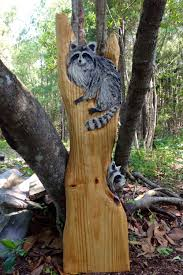 two raccoons in tree 43 chainsaw wood raccoon carving detailed