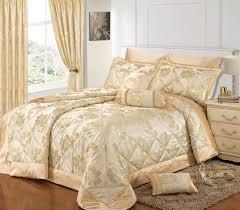 Elegant Comforter Sets Bed U0026 Bedding Ivory Quilted Bedspreads With Leaves Motif For