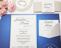 wedding invitations royal blue blue wedding invite etsy