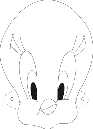 tweety mask printable coloring page for kids