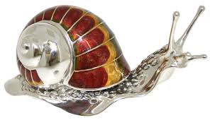 saturno silver and enamel snail large ornament connard