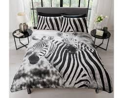 Zebra Bedroom Furniture Sets Photographic Print Double Bedding With Chic Zebra Print
