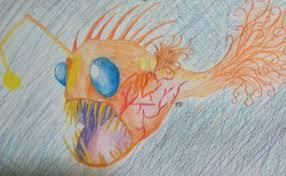 angler fish colored pencil sketch by mikaelaburt3737 on deviantart