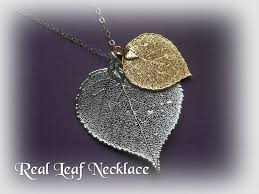 real leaf necklace images Double leaf necklace real leaves long silver necklace gold and jpg
