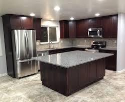 Brushed Nickel Backsplash by Marble Countertops Dark Brown Cabinets Kitchen Lighting Flooring