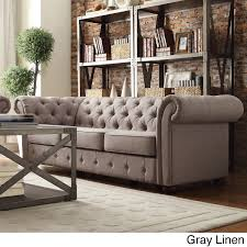 Chesterfield Sofa Living Room by Tribecca Home Knightsbridge Tufted Scroll Arm Chesterfield Sofa