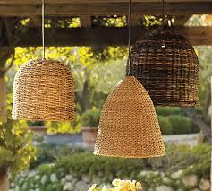 Pendant Lighting Outdoor Grove Wicker Indoor Outdoor Pendant Lights Set Of 3 Pottery Barn
