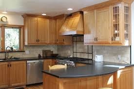 Brown Subway Travertine Backsplash Brown Cabinet by White Oak Wood Grey Glass Panel Door Kitchen Cabinets To Go