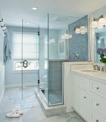Blue Glass Tile Bathroom Blue Glass Shower Tiles Transitional Bathroom Donna Elle