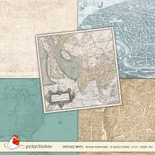 Paper Maps New Vintage Maps Digital Paper Pickychicken Com