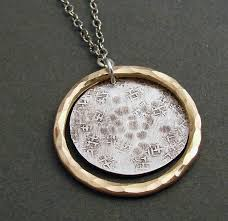 necklace pendant clasp images Hammered and textured sterling disc with hammered 14kt goldfilled jpg