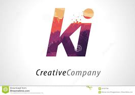 ki k i letter logo design with purple forest texture flat vector