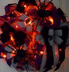 pre lit halloween spider mesh wreath orange purple and black
