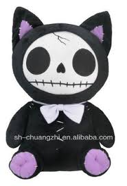 furry bones black kitty cat skeleton plush skull stuffed animal