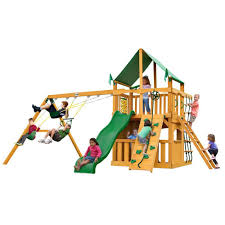 gorilla playsets chateau clubhouse with amber posts and deluxe