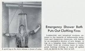 emergency shower bath puts out clothing fires modern mechanix