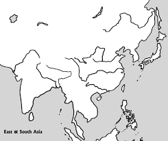 Physical Map Of Asia by Physical Outline Map Of E U0026 S Asia