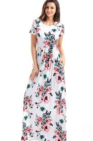 white floral print short sleeve maxi casual dress casual dresses