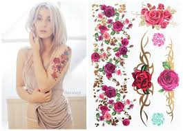388 boho style the best trend flower rose temporary body tattoo