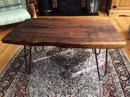 Slab Table Etsy by Walnut Slab Table With Cast Iron Hairpin Legs Https Www Etsy Com
