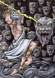 zeus vs typhon sketch card tony perna by pernastudios on deviantart