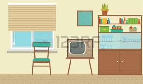 cartoon bedroom apartment livingroom interior house room retro