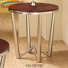coaster company satin nickel coffee table occasional group round end table with brushed nickel base by coaster f