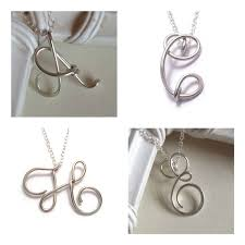 Intial Necklace Personalised Initial Necklace Sterling Silver Wire Letter