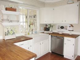 Cottage Style Kitchens Designs Sinks Butcher Blackcountertop White Hanging Shelves White