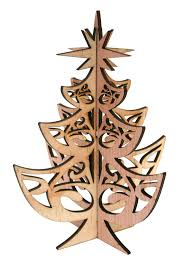 laser cut rustic wood tree decoration